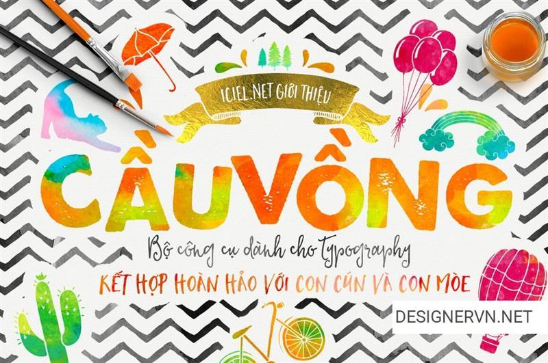 Bộ Font, Kit Typo - Photoquote Việt hóa màu nước cầu vồng